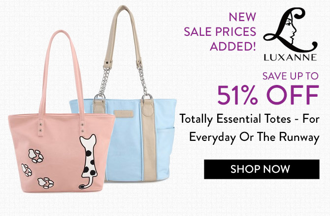 Luxanne pink bag with cat figure and blue tote bag on white background